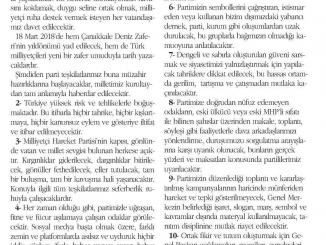 MHP Genelge - 21.01.2018